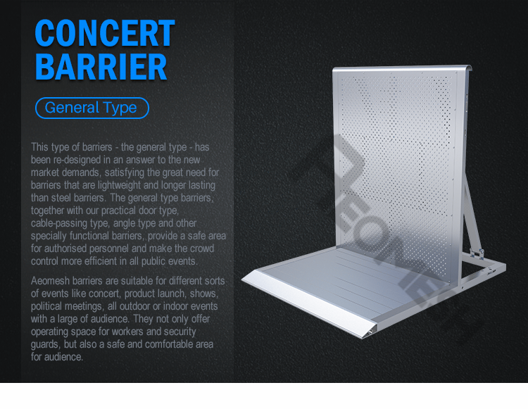 AEOBARRIER General Type Lightweight Maximum Stability Aluminium Crowd Control Barrier
