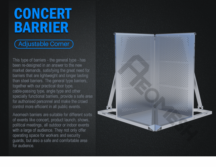 AEOBARRIER Adjustable Type Any Corner Resistant Aluminum Crowd Control Barrier